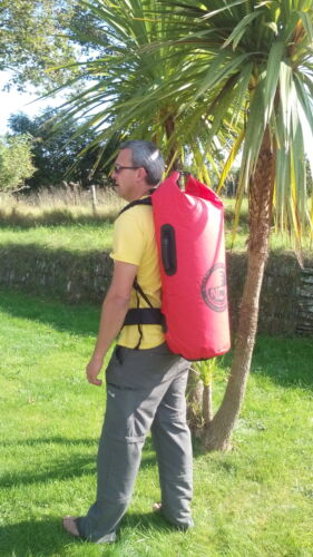 100% waterproof dry bag with padded rucksack straps. 50 L carry 2 wetsuits easy
