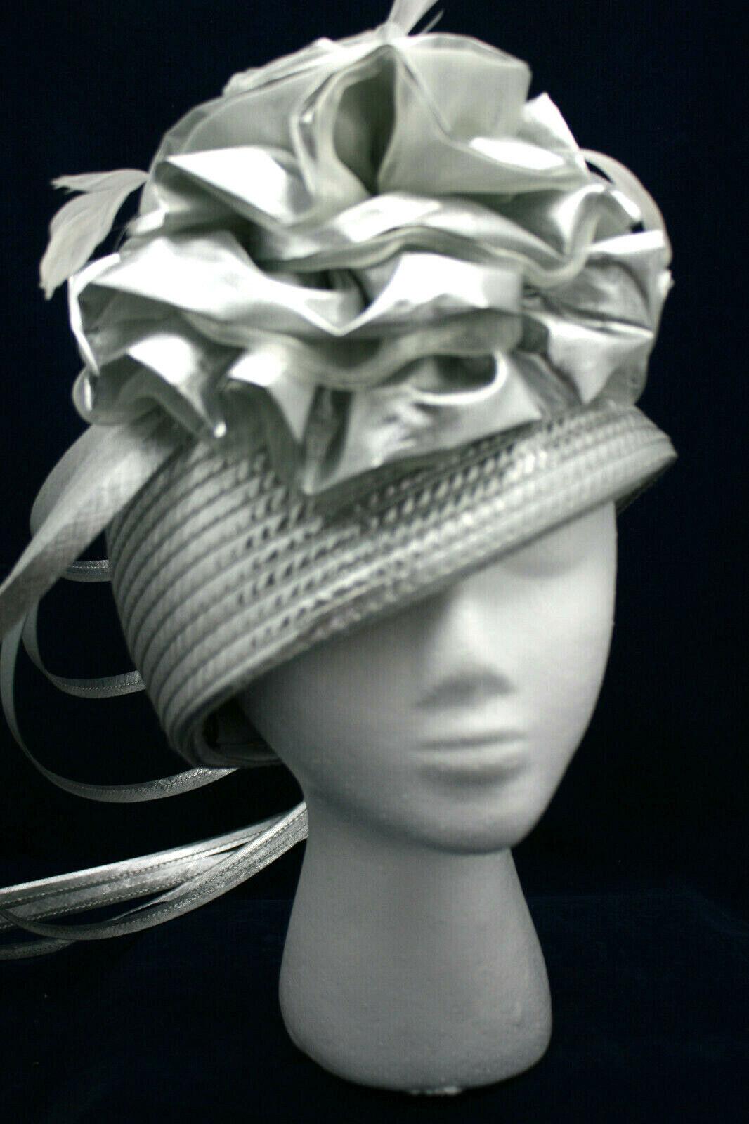 Ladies' Formal Headpiece Hat Whitall & Shon Wedding Church Derby Silver 22.5