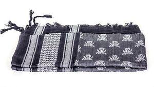 Sciarpa-scialle-KEFIAH-cotone-bianco-nera-teschio-W-BLACK-SHEMAGH-SCARF-SKULL