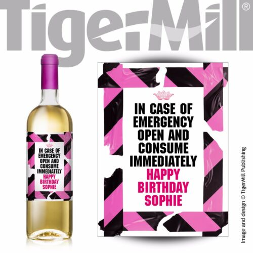 PERSONALISED /'In case of emergency/' pink wine bottle label Birthday any occasion