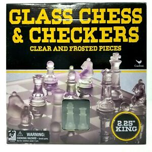 NEW CHESS /& CHECKERS with Glass Chess Board  Game Strategy
