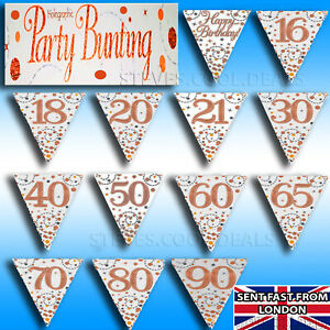 Birthday-Party-Bunting-Or-Rose-Blanc-Holographique-Fizz-age-Decorations-Banniere