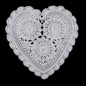 Heart Crochet Lace Doilies Mat Placemat Home Coffee Shop Table Decoration