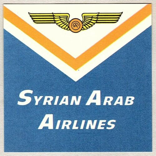VINTAGE SYRIAN ARAB AIRLINES LUGGAGE LABEL