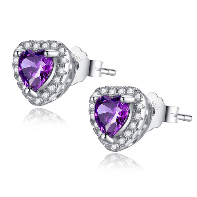 Heart Cut Created Amethyst 925 Sterling Silver Stud Earrings Gifts for Her