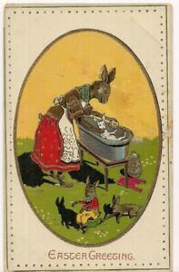 1910s-Momma-Rabbit-Baby-Bunny-Bath-Babies-Easter-Greeting-Gilded-Coated-Postcard