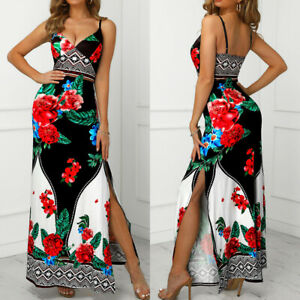 Women-Bandage-Bodycon-Casual-Sleeveless-Floral-Evening-Party-Cocktail-Long-Dress