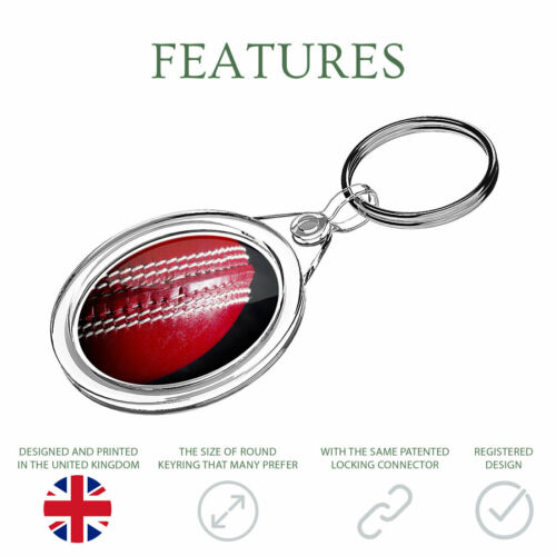 1 X Awesome Red Sports Cricket Ball Keyring IR02 Mum Dad Birthday Gift #16416