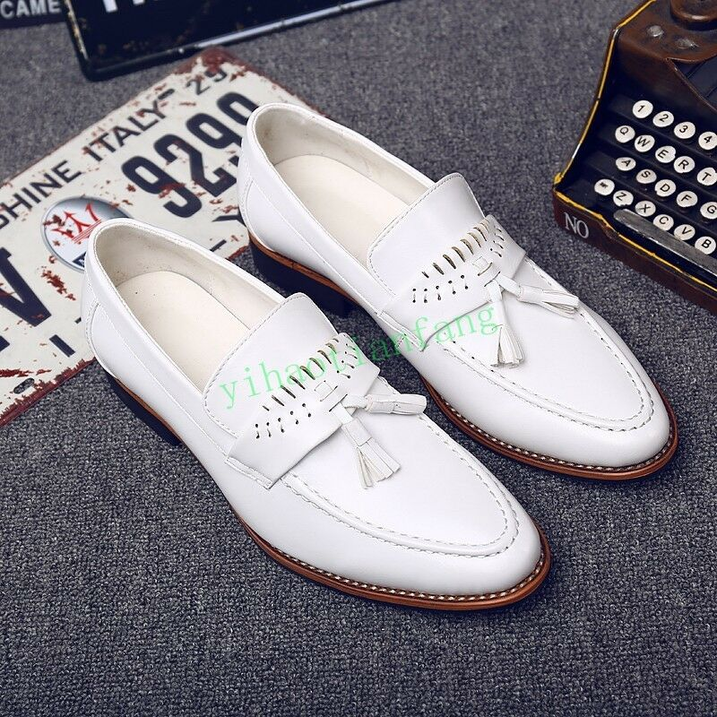 Men Tassel Pointed Toe Oxfords Loafer Slip on Brogue Casual Wing Tip Dress shoes