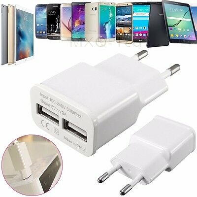 2A Dual 2 Ports USB EU Plug Home Travel Wall AC Power Charging Charger Adapter