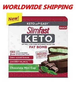 Slim-Fast-Keto-Fat-Bomb-Chocolate-Mint-Cup-14-Ct-8-4-Oz-WORLDWIDE-SHIPPING