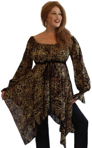 Plus M909 LotusTraders Art Batik Empire Waist Boho Fashion Peasant Blouse