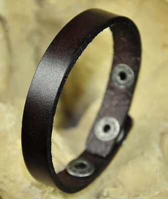 Unisex Simply Cool Single Band Surfer Leather Bracelet Wristband Dark Brown