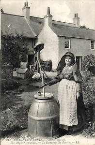 Channel Islands. Butter Making # 211 by LL/Levy. Black & White.