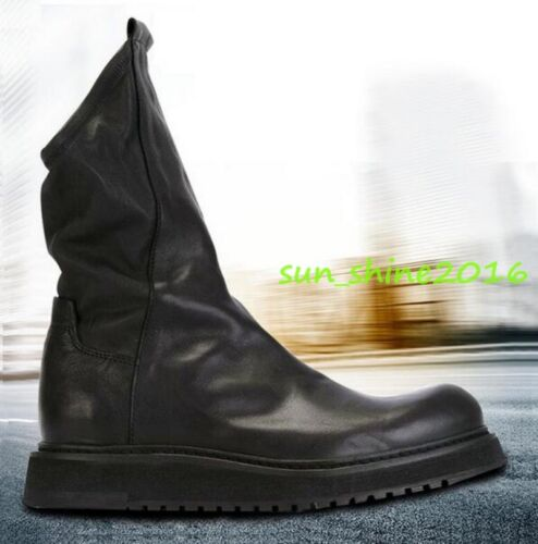 New Punk Mens Leather Pull On Cowboy Western Ankle Boots High Top Shoes size