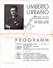 UMBERTO URBANO opera baritone large signed program in Vienna 1932 scarce