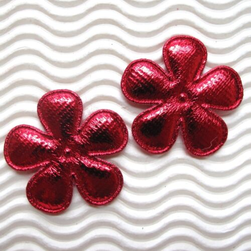 "60pc x 1.5/"" Padded Shiny Felt Flower Appliques for Christmas Wedding Craft ST608"