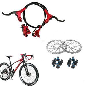 ZOOM-MTB-XC-Bike-Hydraulic-Disc-Brake-levers-Calipers-Front-Rear-6-034-160mm-Rotors