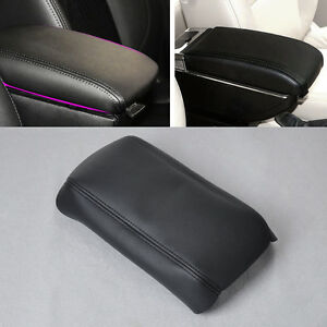 Real Leather Black Center Console Lid Armrest Cover Fits 03-07 Honda Accord