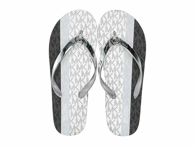 Michael Kors Flip-Flop Thong MK Logo Sandal Gray/Black Womens Size 10 NEW IN BOX