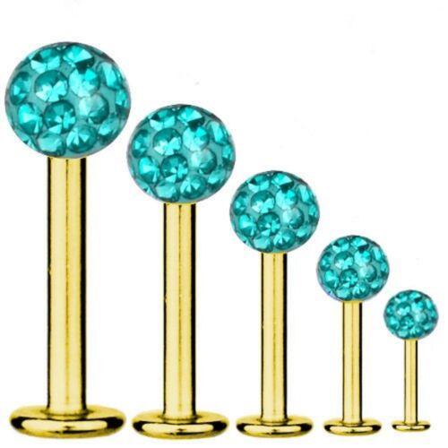 Labios-piercing Titan dorado 1,6 mm labret multi bola de cristal Aquamarin