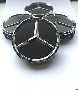 4x mercedes emblem 75mm schwarz matt nabendeckel. Black Bedroom Furniture Sets. Home Design Ideas