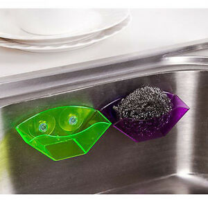 Double-Kitchen-Bathroom-Draining-Suction-Cup-Sink-Holder-Sponge-Soap-Brushnw