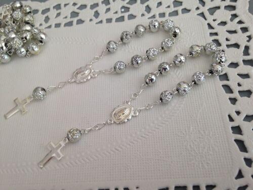 30 Pc Mini Rosary SILVER //Baptism Favor// Decenario// Recuerditos //communion Favor