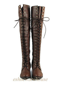 Brown Leatherette Hip n Cool Urban Over the Knee Thigh High Lace ...