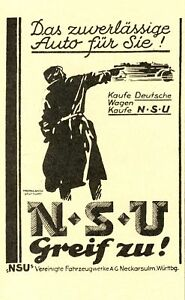 NSU-voiture-moto-Neckarsulm-publicitaires-de-1927-velo-moto-AD