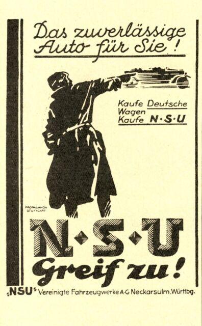 NSU voiture moto Neckarsulm publicitaires de 1927 vélo moto AD