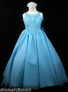 114265c71 Girls Teen Girl National Glitz Pageant Long Dress Blue Sz 3 4 5 6 7 ...