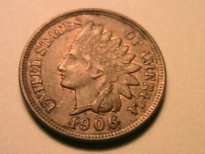 1906-Bronze-Indian-Head-Cent-Nice-XF-AU-Original-R-amp-B-Tone-US-Small-Penny-Coin