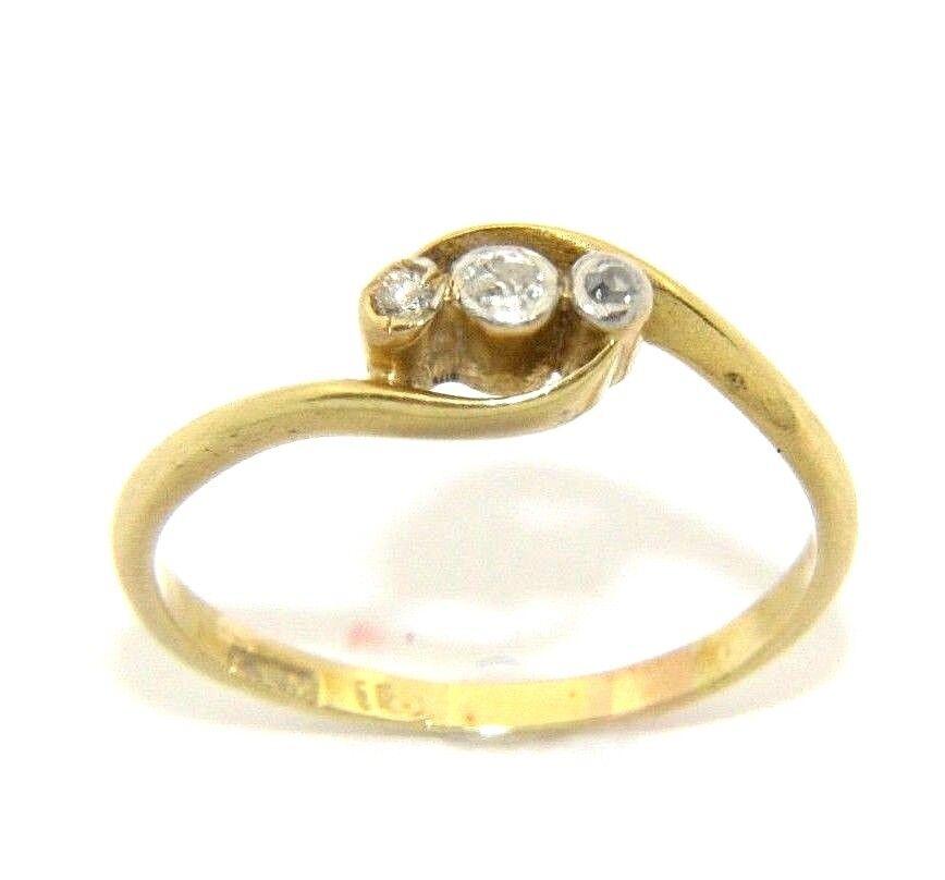 Ladies Da Donna Donna Donna 18ct oro 18 Carati Anello della trilogia impostato con diamanti UK Taglia N 22e7c3