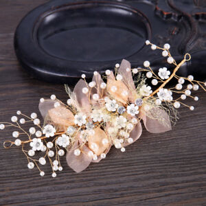 da0a2b2a Image is loading Flower-Tiara-Floral-Pearl-Gold-Leaves-Headband-Headpiece-