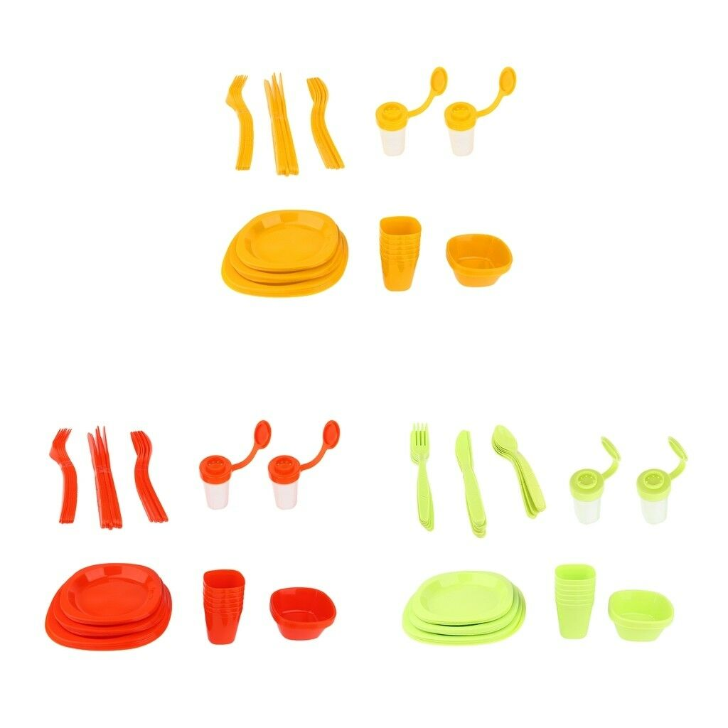 51pcs Lightweight Outdoor Camping Tableware Set for Picnic BBQ Family Party