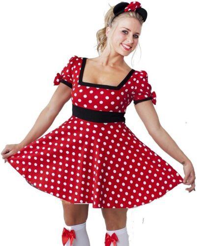 FREE HEADBAND WOMEN/'S MINNIE MOUSE COSTUME FANCY DRESS LADIES SIZE 8-12