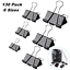 130 Pcs Assorted Sizes Binder Clips Big Paper Clamps Metal Fold Back Clips for