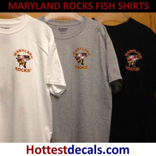 MARYLAND ROCKS SHIRT FREE TRUCK BOAT DECAL Chesapeake Bay Rock Rockfish Fish
