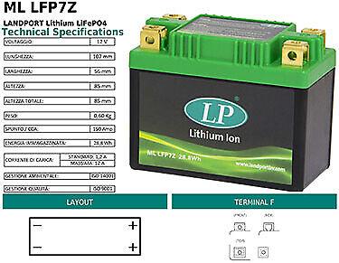 BATTERIA LITIO LP LANDPORT ML LFP7Z JIANGMEN DIHAO 125 T-A 125 CC YTX7A-BS