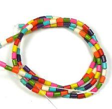 "3x5mm Tube Chalk Turquoise Dyed Mix  Beads 15"""
