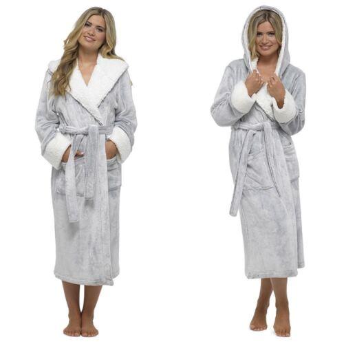Size 8-18 W526 Luxury Hooded Dressing Gown Women/'s Shimmer Fleece Robe