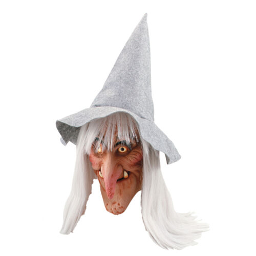 Adult Witch Mask With Grey Hat /& Hair Wicked Wench Scary Fancy Dress Accessory