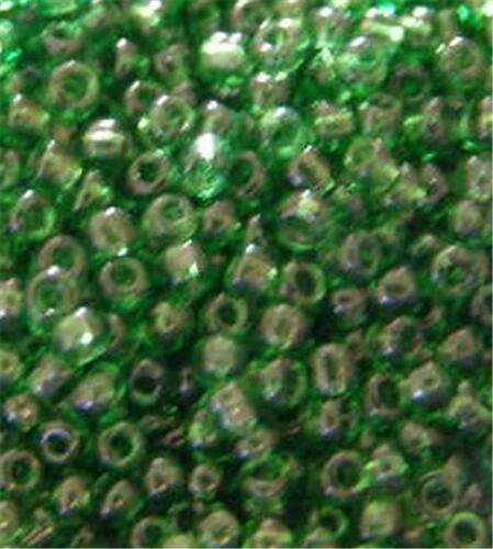 40gm PACKET OF GLASS SEED BEADS SIZE 11//0 TRANSPARENT GREEN