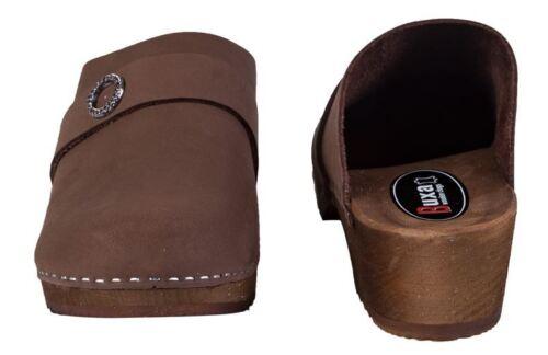 Wooden clogs  Nubuck   Dark Brown color PE1    US Shoe Size  Women/'s