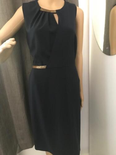 Stunning Navy Dress Rech Detail Gold Blue Georges With 44 Size wTqSn7qW