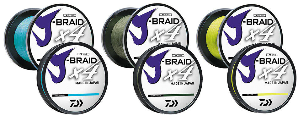 Daiwa J-Braid X4 Braid Fishing Line - 3000 Yards, 65 Lb., Hi-Viz Yellow
