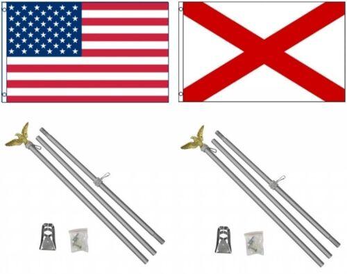 3x5 USA American /& State of Alabama Flag /& 2 Aluminum Pole Kit Sets 3/'x5/'