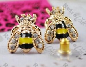 8793a0bae1914 Details about BETSEY JOHNSON cute CRYSTAL rhinestone BEE STUD EARRINGS bees  BJ gold pl studs