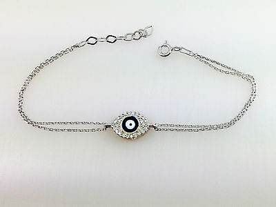 Enamel Evil Eye 925 Sterling Silver Bracelet Blue Light  Blue Eye Kabbalah